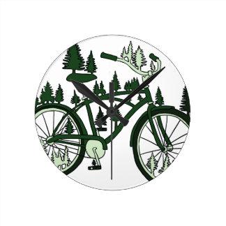 Pine Bike Round Clock