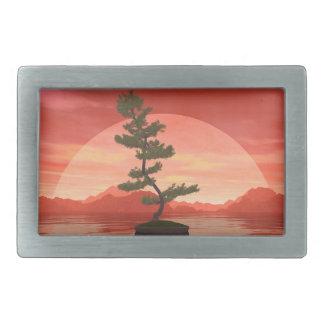 Pine bonsai - 3D render Belt Buckles
