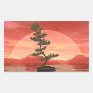 Pine bonsai - 3D render Rectangular Sticker