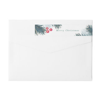 Pine Boughs and Berries Wraparound Label Wraparound Return Address Label