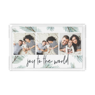 Pine Boughs | Holiday Photo Collage Acrylic Tray