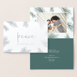 Pine Boughs | Holiday Photo Silver Foil Card