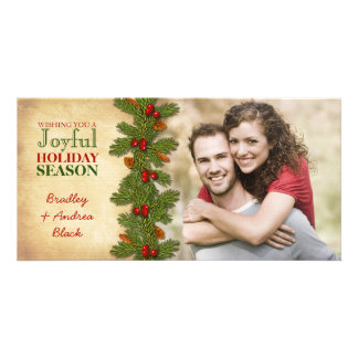 Pine Boughs Holly Berries Christmas Xmas Photocard Photo Card Template