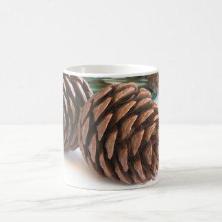 Pine branch and cones coffee mug