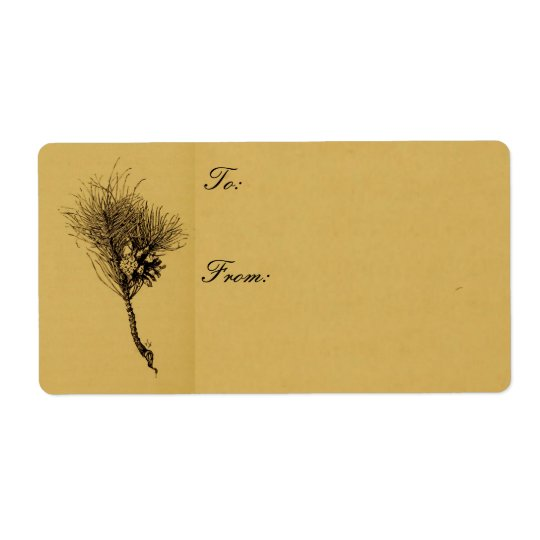 pine branch gift tag shipping label