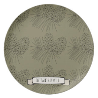 Pine Branch Lineart Design Plate