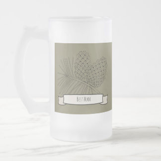 Pine Branch Two Frosted Glass Beer Mug