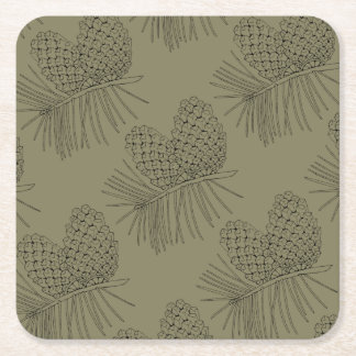 Pine Branch Two Square Paper Coaster