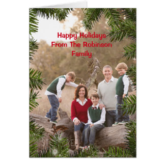 Pine Branches Holidays Greeting Card