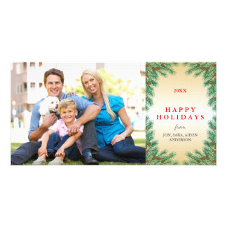 Pine Branches & Pine Cones Photo Christmas Card