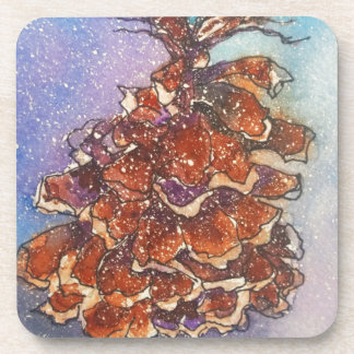 Pine Cone Artwork Drink Coasters
