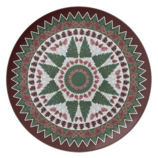 Pine Cone Christmas Mandala Plate
