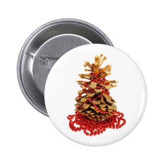 Pine cone christmas tree with strand of red beads buttons