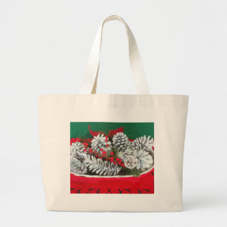 Pine Cone Holly Decoration Tote Bags