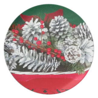 Pine Cone Holly Decoration Party Plate