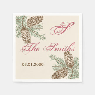 Pine Cone Nature on Cream Wedding Napkin Disposable Serviette