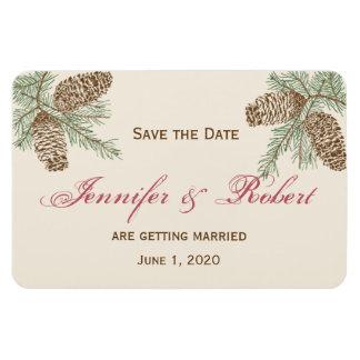 Pine Cone Nature on Cream Wedding Save the Date Rectangular Photo Magnet