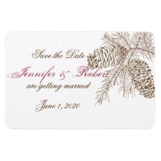 Pine Cone Nature Wedding Save the Date Rectangular Photo Magnet