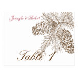 Pine Cone Nature Wedding Table Number