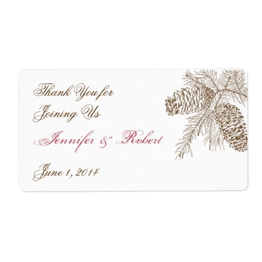 Pine Cone Nature Wedding Water Bottle Label