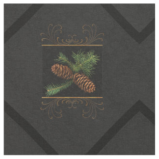 Pine Cone Watercolor Black and Gold   Christmas Fabric