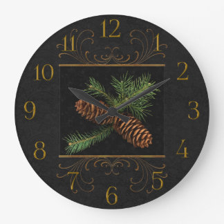 Pine Cone Watercolor Black Damask   Christmas Wallclocks