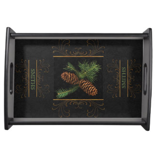 Pine Cone Watercolor Custom Name | Christmas Service Trays