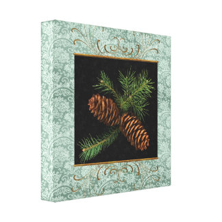 Pine Cone Watercolor on Green Damask | Christmas Canvas Print