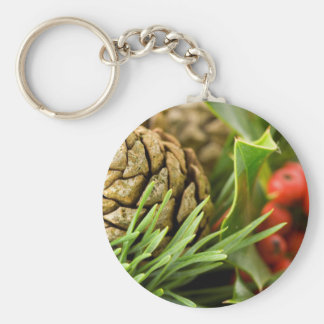 Pine cones and berries basic round button key ring