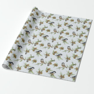 Pine cones and birds Christmas pattern Wrapping Paper