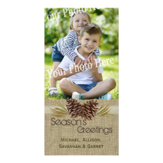 Pine Cones and Burlap Rustic Holiday Greeting Photo Cards