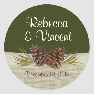 Pine Cones and Burlap Woodland Green Classic Round Sticker
