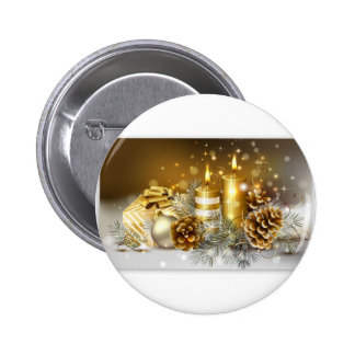 Pine Cones and Christmas Candles Pinback Button