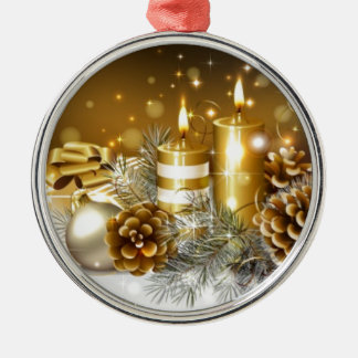 Pine Cones and Christmas Candles Christmas Ornament