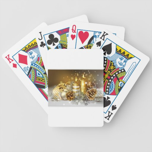 Pine Cones and Christmas Candles Poker Cards
