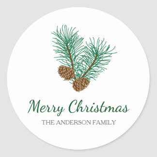 Pine Cones and Pine Branches Merry Christmas Round Sticker