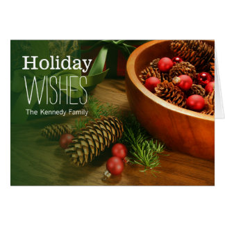 Pine cones,christmas balls and gifts greeting card
