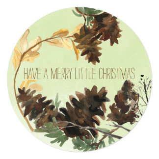 """Pine Cones Nature Round Christmas Holiday Card 5.25"""" Square Invitation Card"""