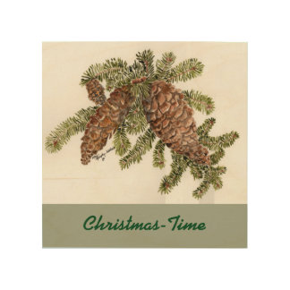 Pine cones on wood wood canvas