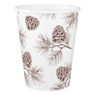 Pine fir christmas tree cedar spruce cones paper cup