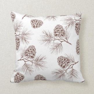 Pine fir christmas tree cedar spruce cones throw pillow