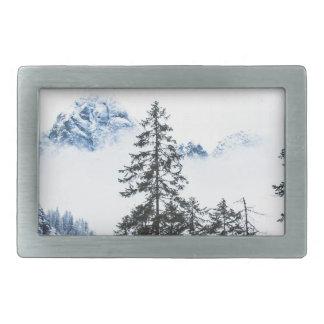 Pine Forest againts Winter Belt Buckle