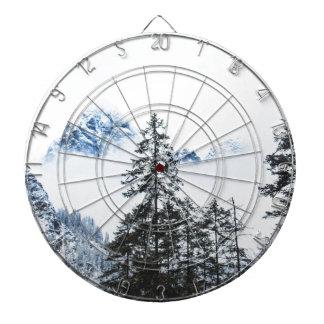 Pine Forest againts Winter Dartboard