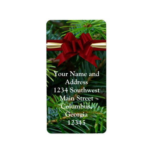 Pine/Gold/Red Bow Christmas Label