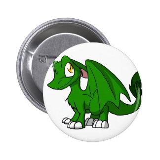 Pine Green SD Furry Dragon 6 Cm Round Badge