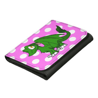 Pine Green SD Furry Dragon w/ Pink Polka Dots Back Leather Wallets