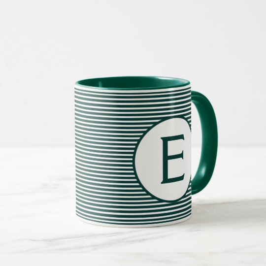 Pine Green Stripe Monogram Mug