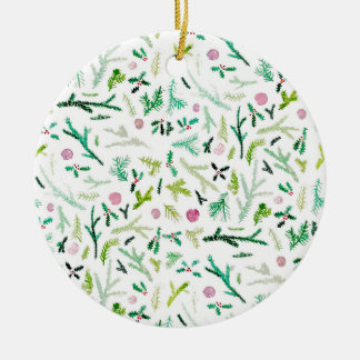 Pine, Holly & Sugarplums Ceramic Ornament