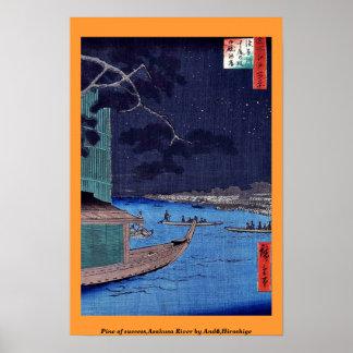 Pine of success,Asakusa River by Andō,Hiroshige Poster