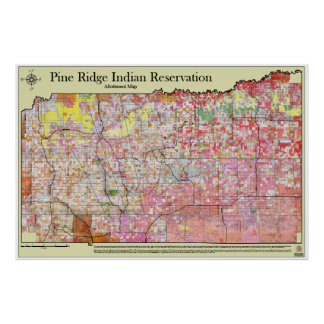 Pine Ridge Reservation Allottment Map w/districts Posters